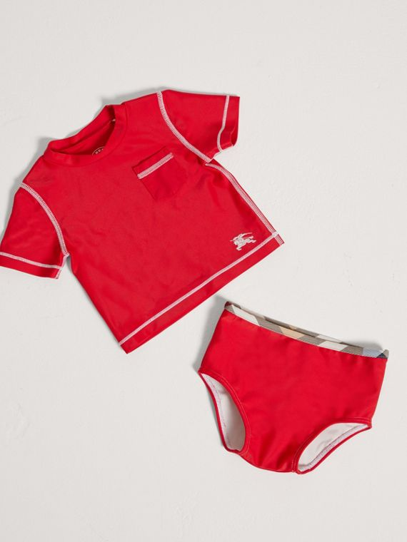 Topstitch Detail Two-piece Rash Set in Poppy Red