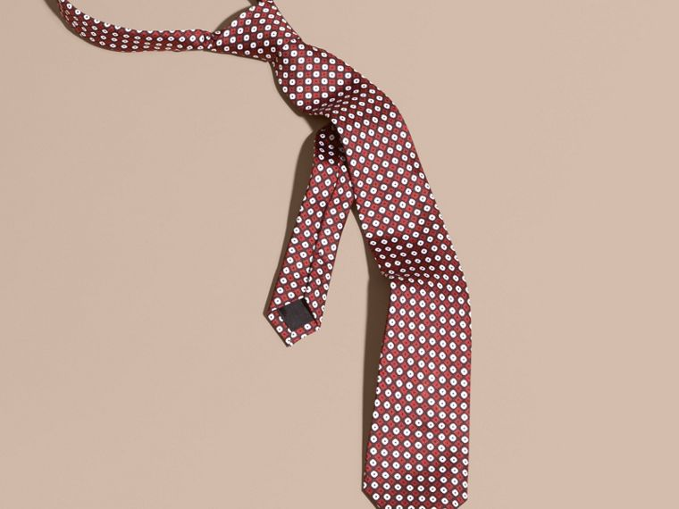 Dark elderberry Slim Cut Geometric Print Silk Tie - cell image 2