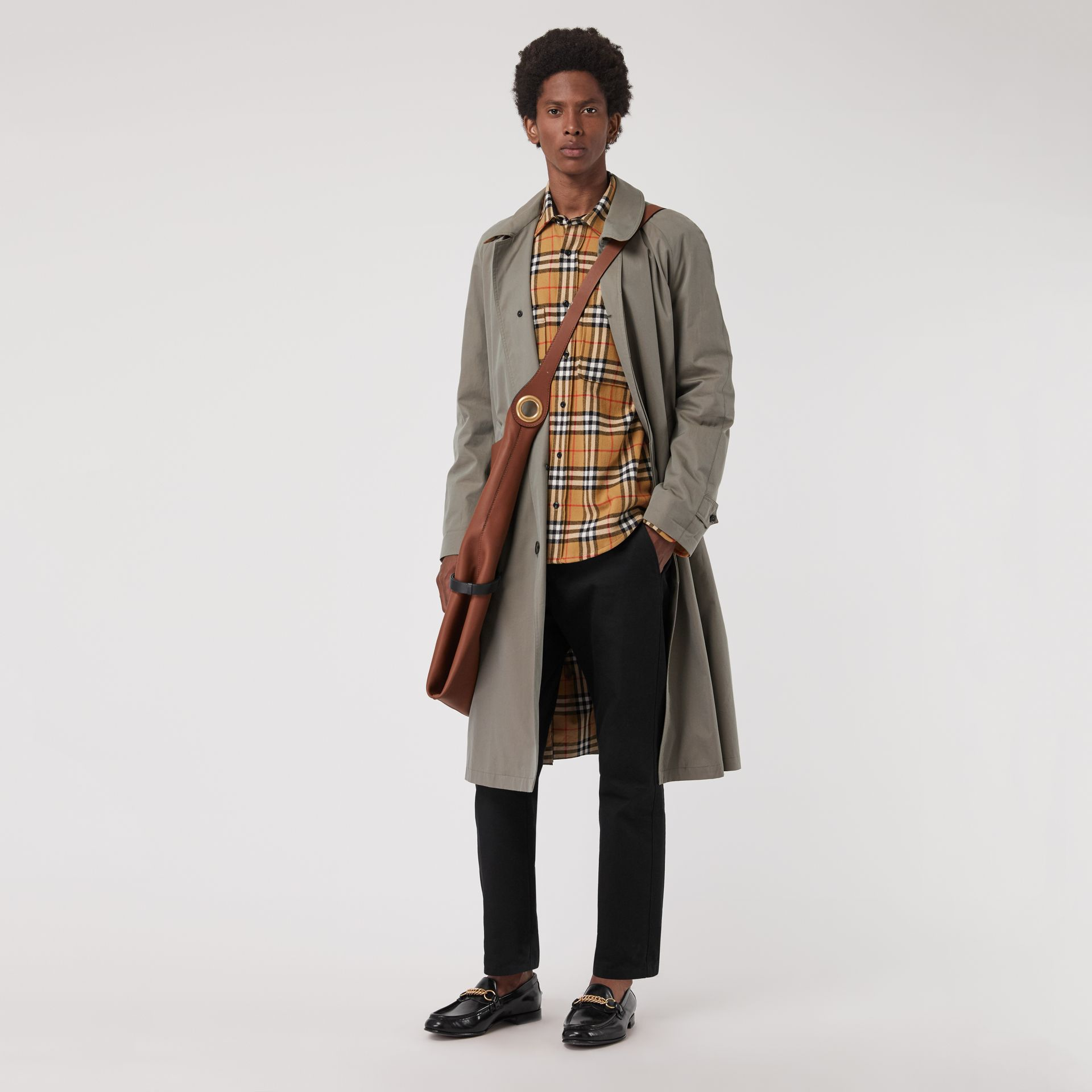 Vintage Check Cotton Flannel Shirt in Antique Yellow - Men | Burberry Australia - gallery image 4