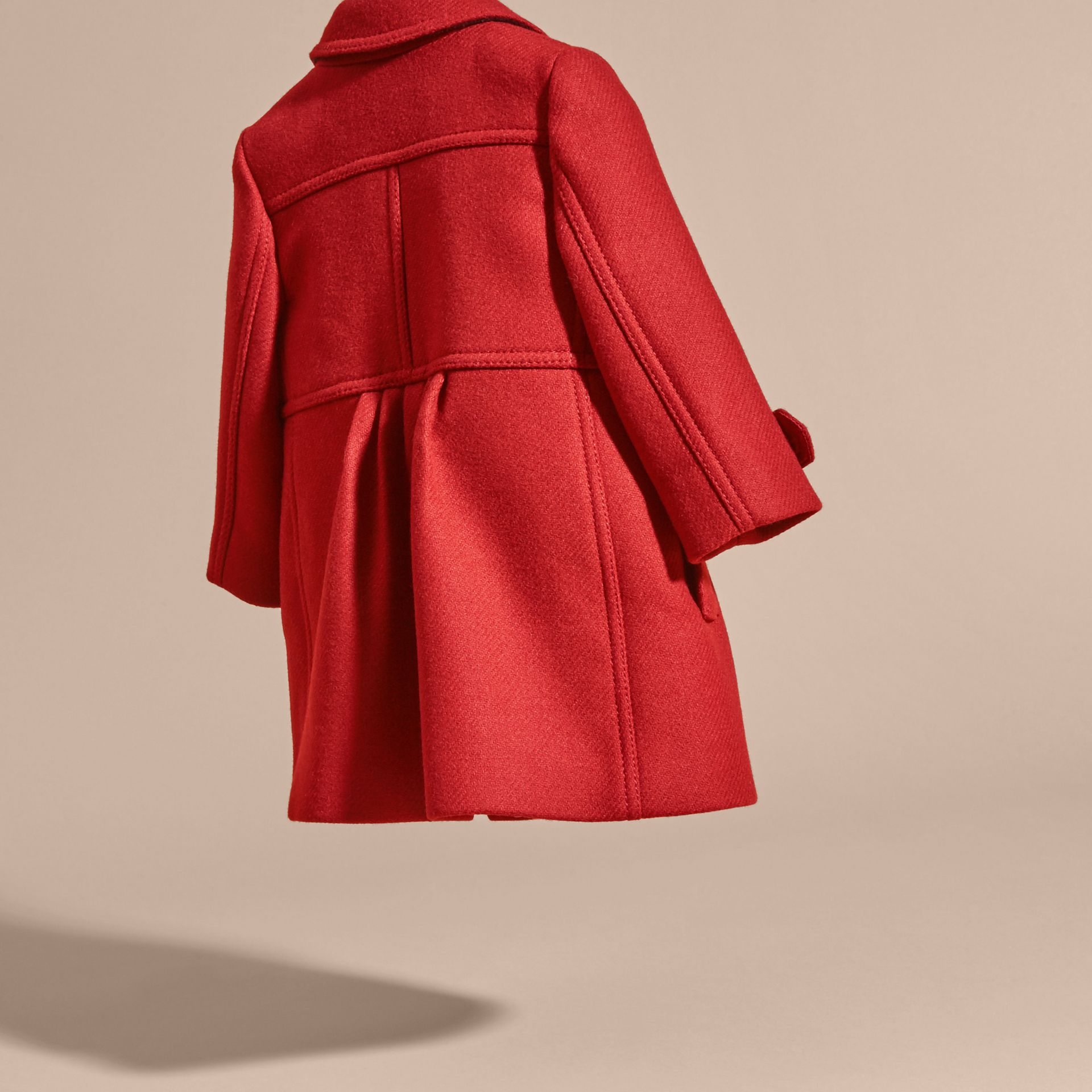 Tailored Wool Cashmere Blend Coat in Damson Red - gallery image 4