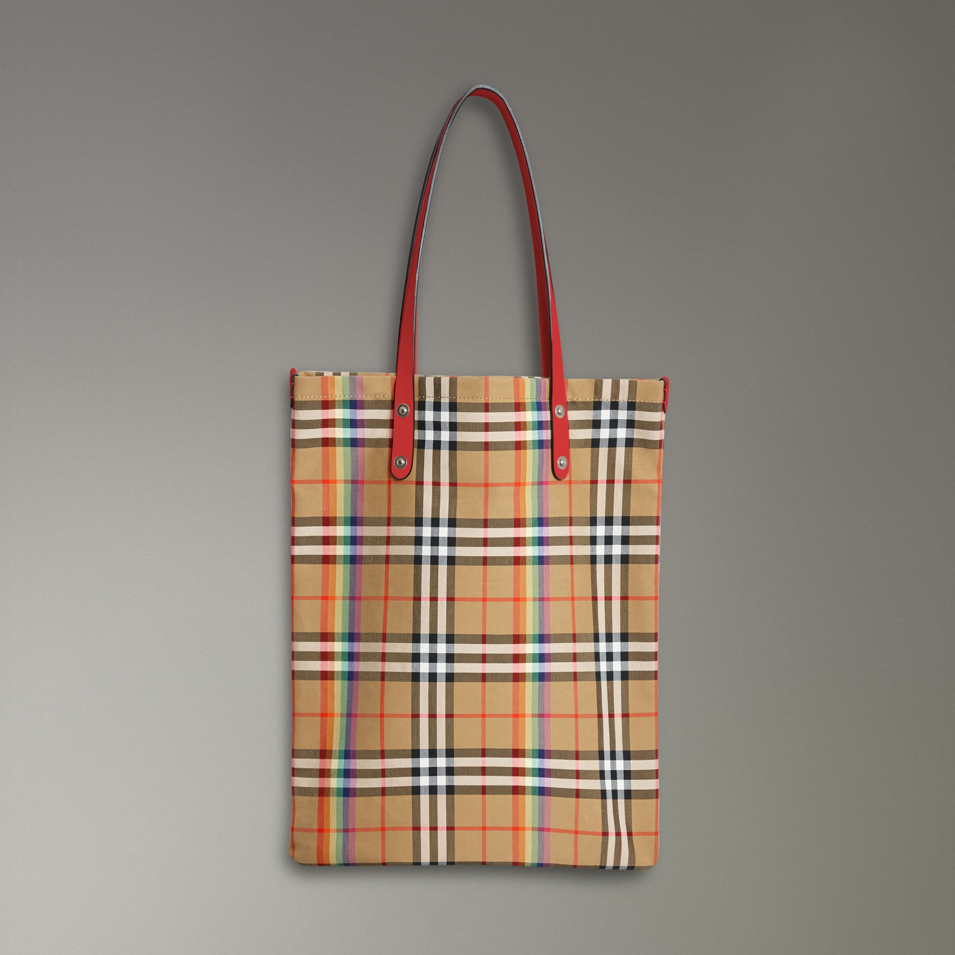 Large Rainbow Vintage Check Shopper in Bright Peony | Burberry United Kingdom - gallery image 0