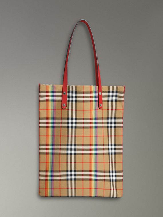 Large Rainbow Vintage Check Shopper in Bright Peony
