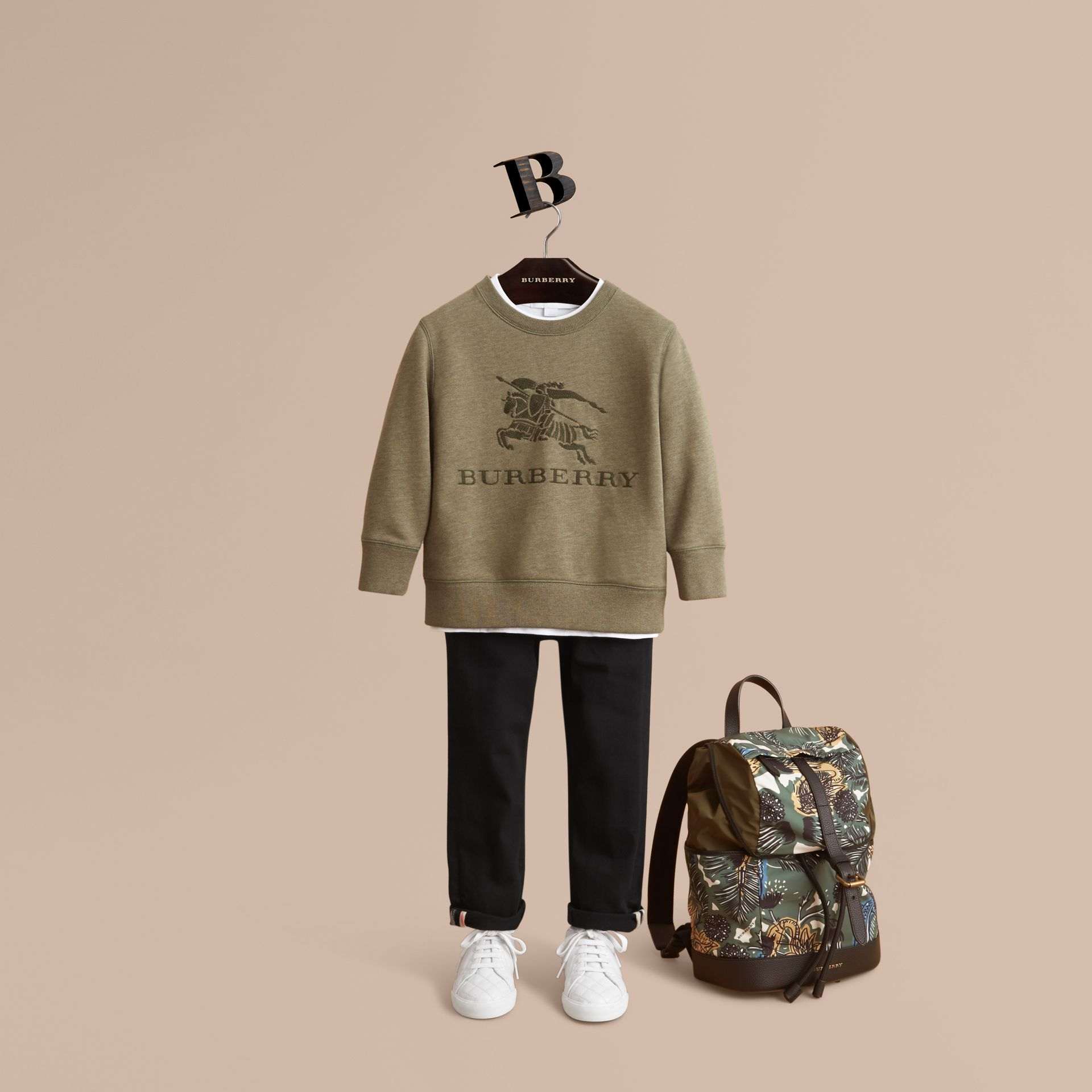 Embroidered Cotton Jersey Sweatshirt in Khaki Green Melange | Burberry - gallery image 1