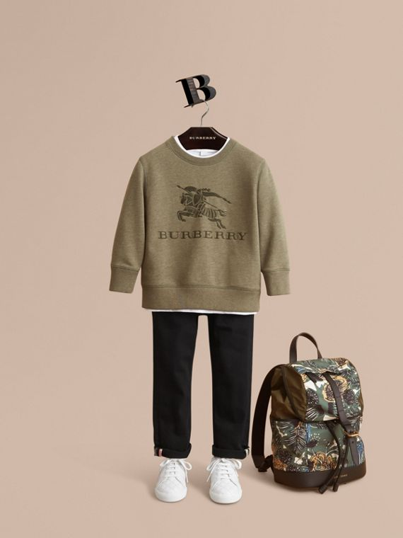 Embroidered Cotton Jersey Sweatshirt in Khaki Green Melange | Burberry Australia