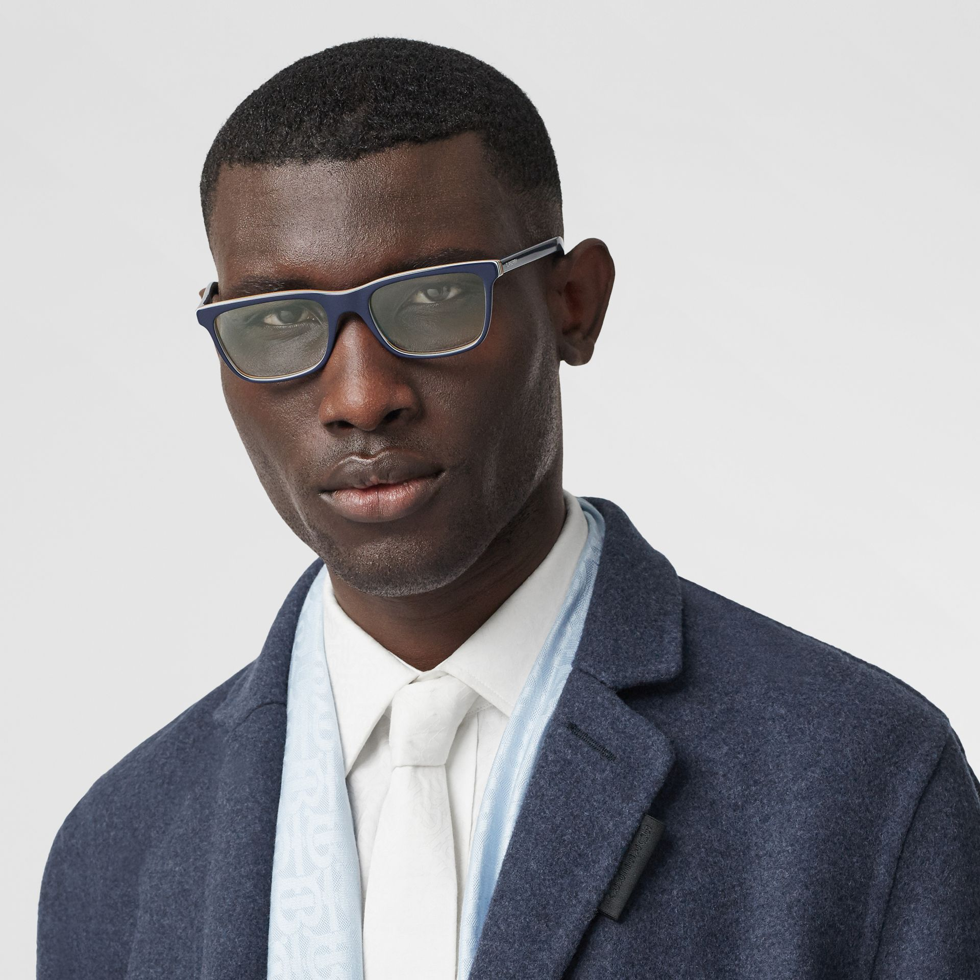 Icon Stripe Detail Rectangular Optical Frames in Blue - Men | Burberry - gallery image 2