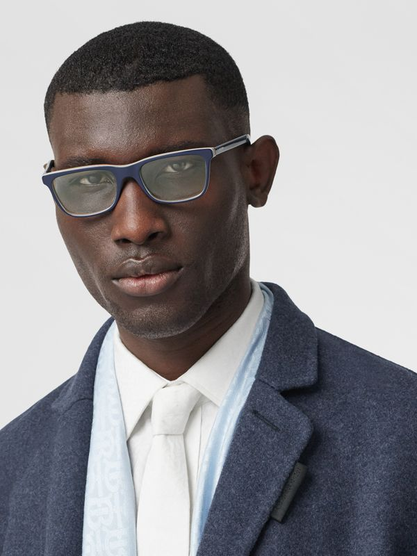 Icon Stripe Detail Rectangular Optical Frames in Blue - Men | Burberry - cell image 2