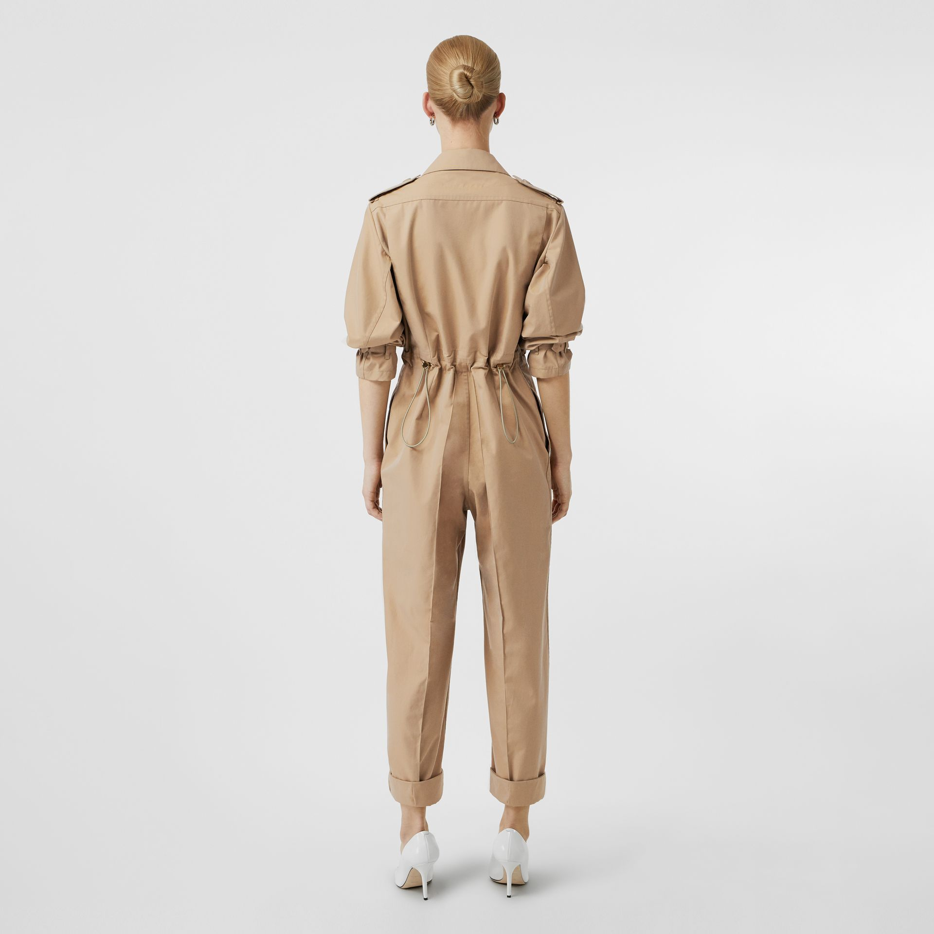 Cotton Gabardine Jumpsuit in Honey - Women | Burberry - gallery image 2