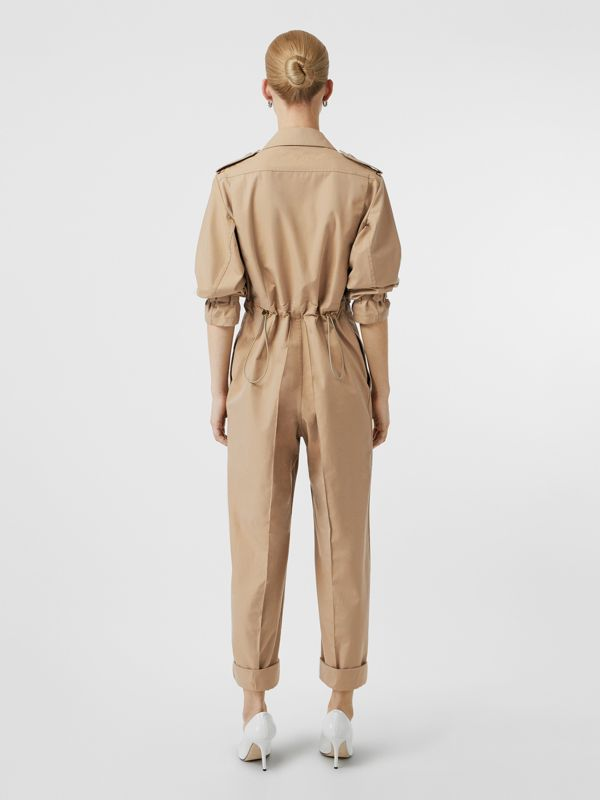 Cotton Gabardine Jumpsuit in Honey - Women | Burberry - cell image 2