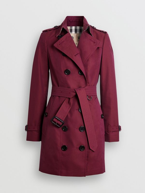 Sandringham Fit Cotton Gabardine Trench Coat in Crimson - Women | Burberry - cell image 3