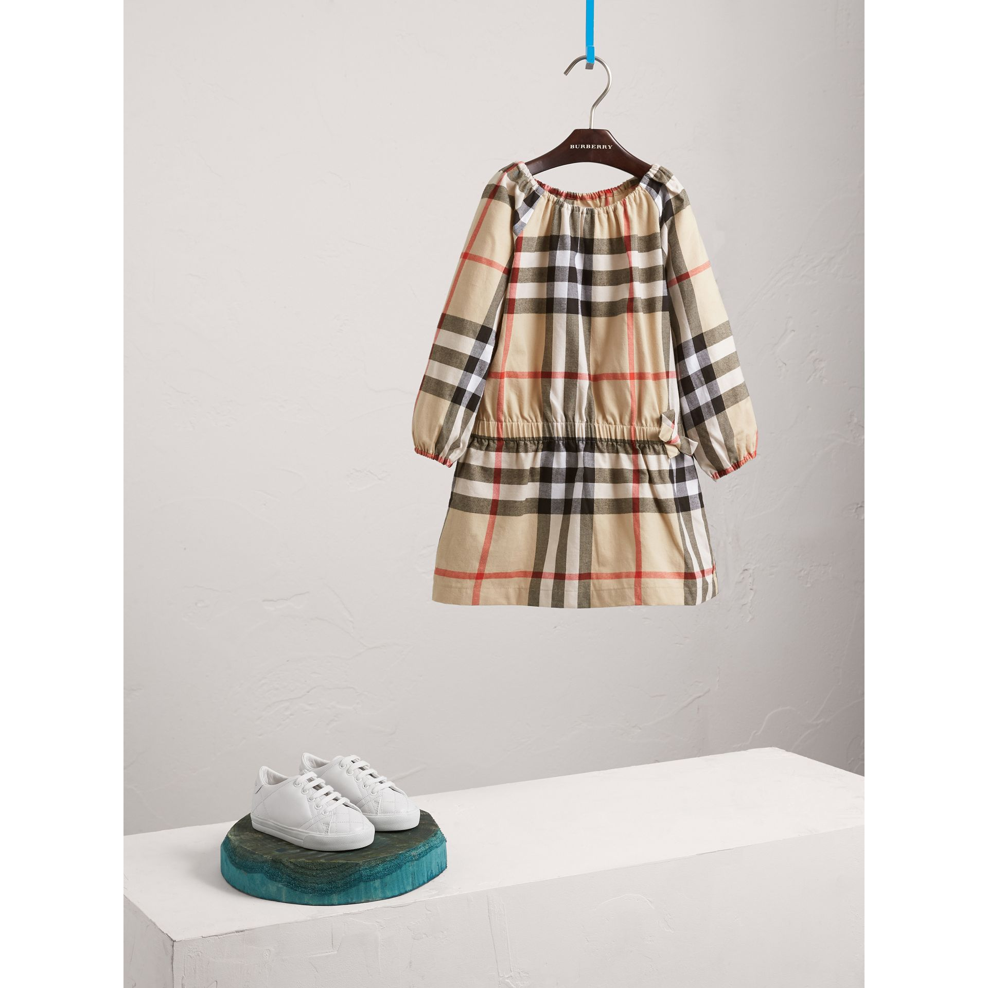 Gathered Check Cotton Flannel Dress in New Classic - Girl | Burberry - gallery image 1