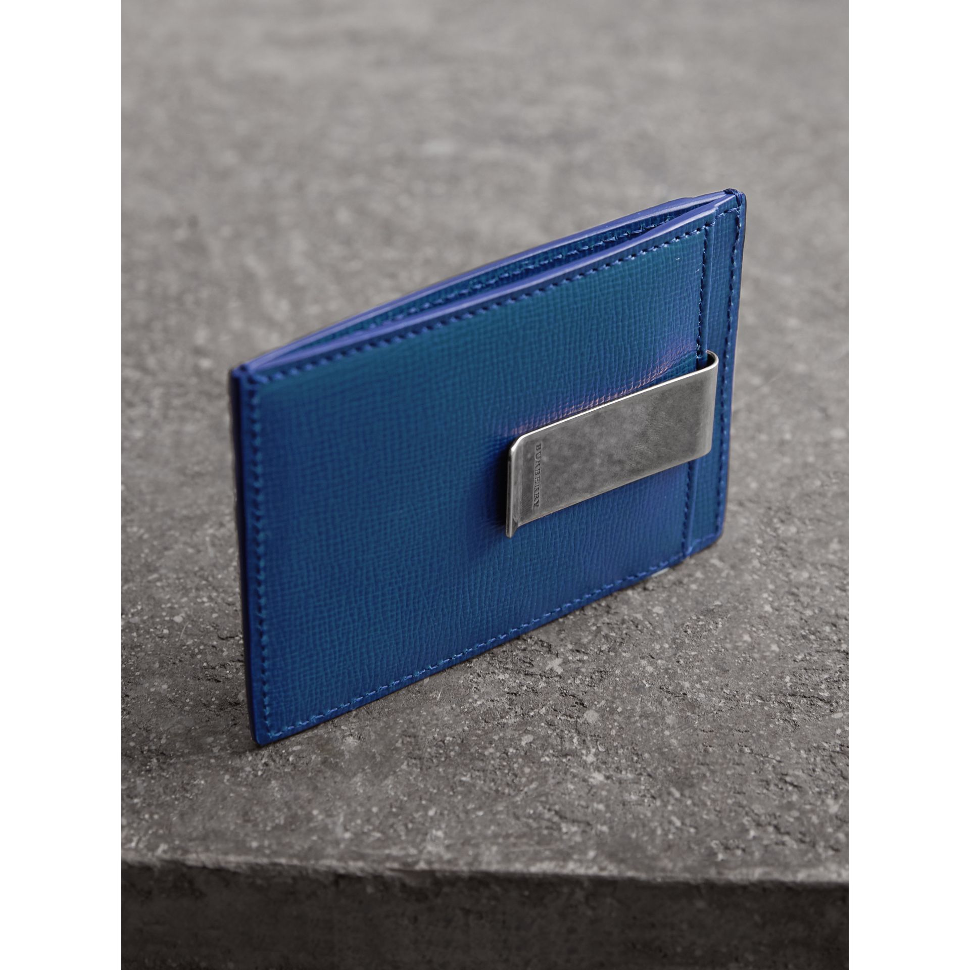 London Leather Money Clip Card Case in Deep Blue - Men | Burberry - gallery image 2