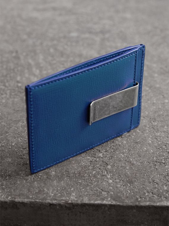 London Leather Money Clip Card Case in Deep Blue - Men | Burberry United States - cell image 2
