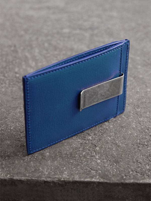 London Leather Money Clip Card Case in Deep Blue - Men | Burberry - cell image 2