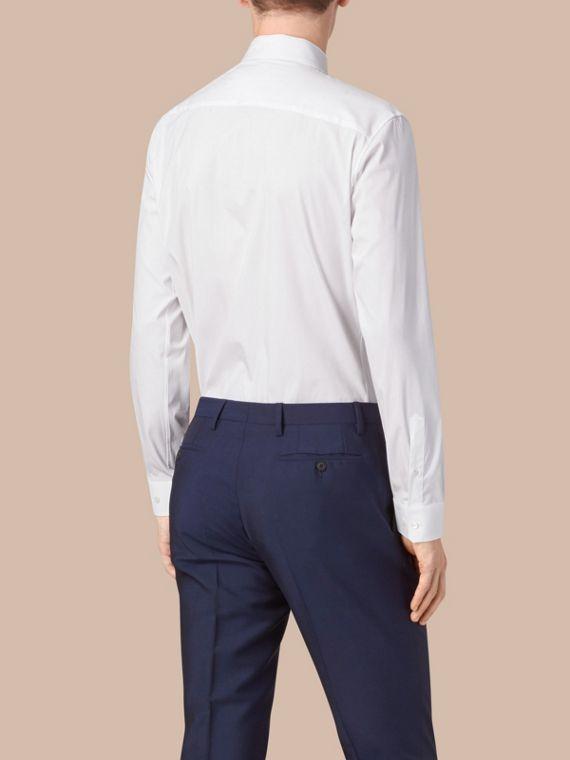 Modern Fit Button-down Collar Stretch Cotton Shirt in White - Men | Burberry Australia - cell image 2