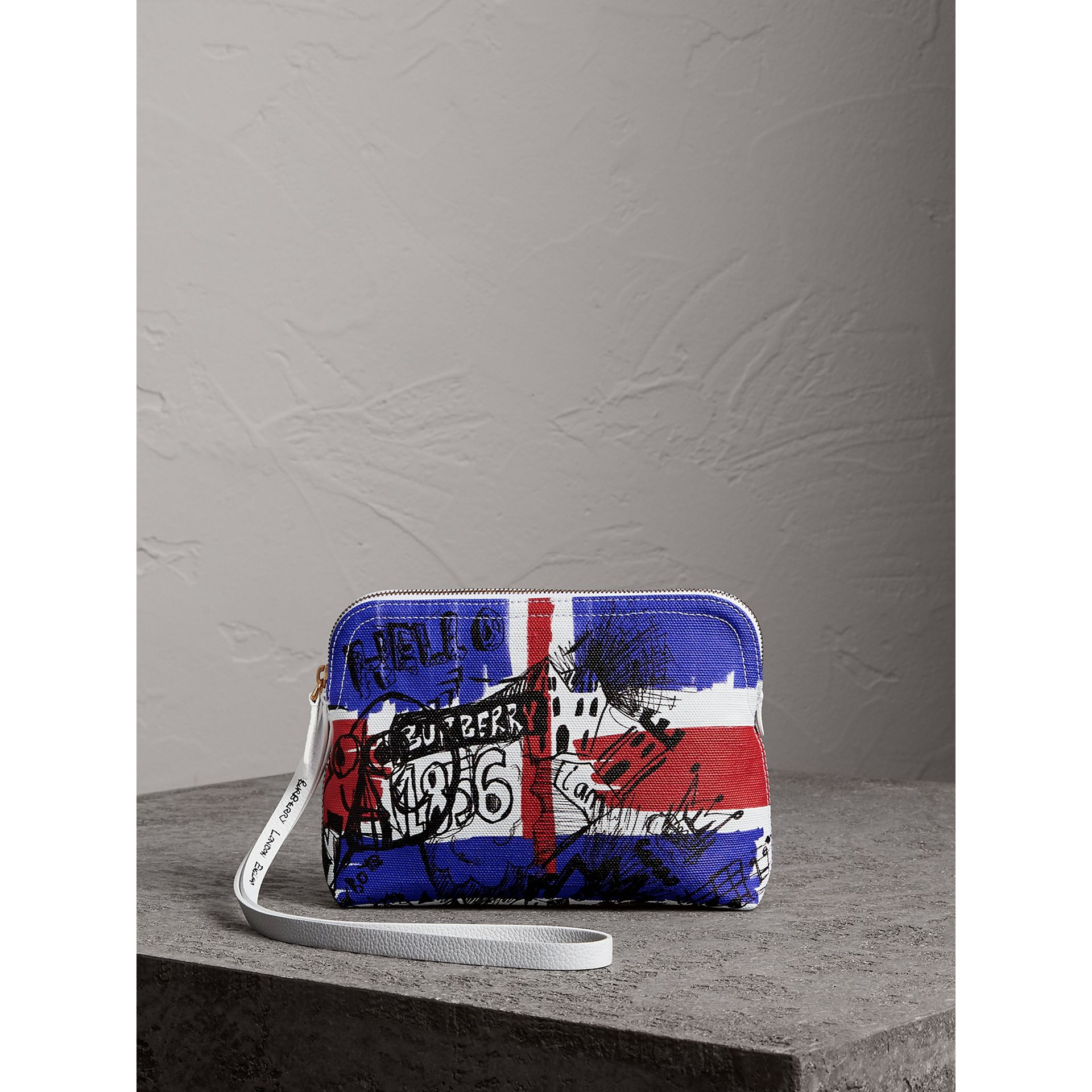 Large Zip-top Doodle Print Coated Canvas Pouch in Red/blue - Women | Burberry - gallery image 0