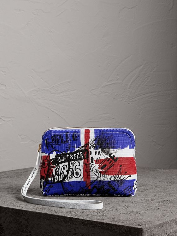 Large Zip-top Doodle Print Coated Canvas Pouch in Red/blue