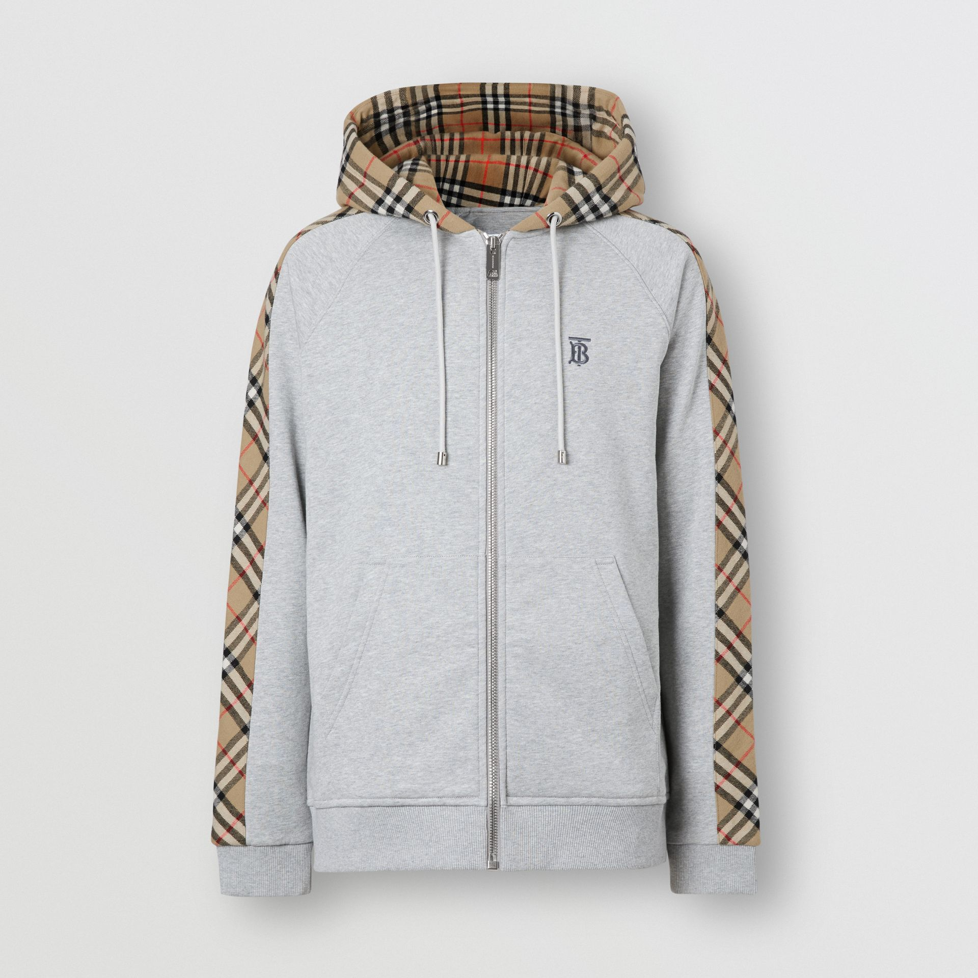 Vintage Check Panel Cotton Hooded Top in Pale Grey Melange - Men | Burberry - gallery image 3