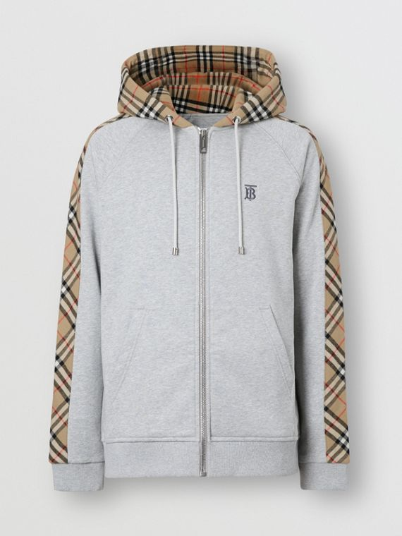 Vintage Check Panel Cotton Hooded Top in Pale Grey Melange