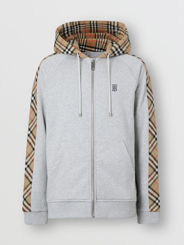 Vintage Check Panel Cotton Hooded Top in Pale Grey Melange - Men | Burberry - cell image 3