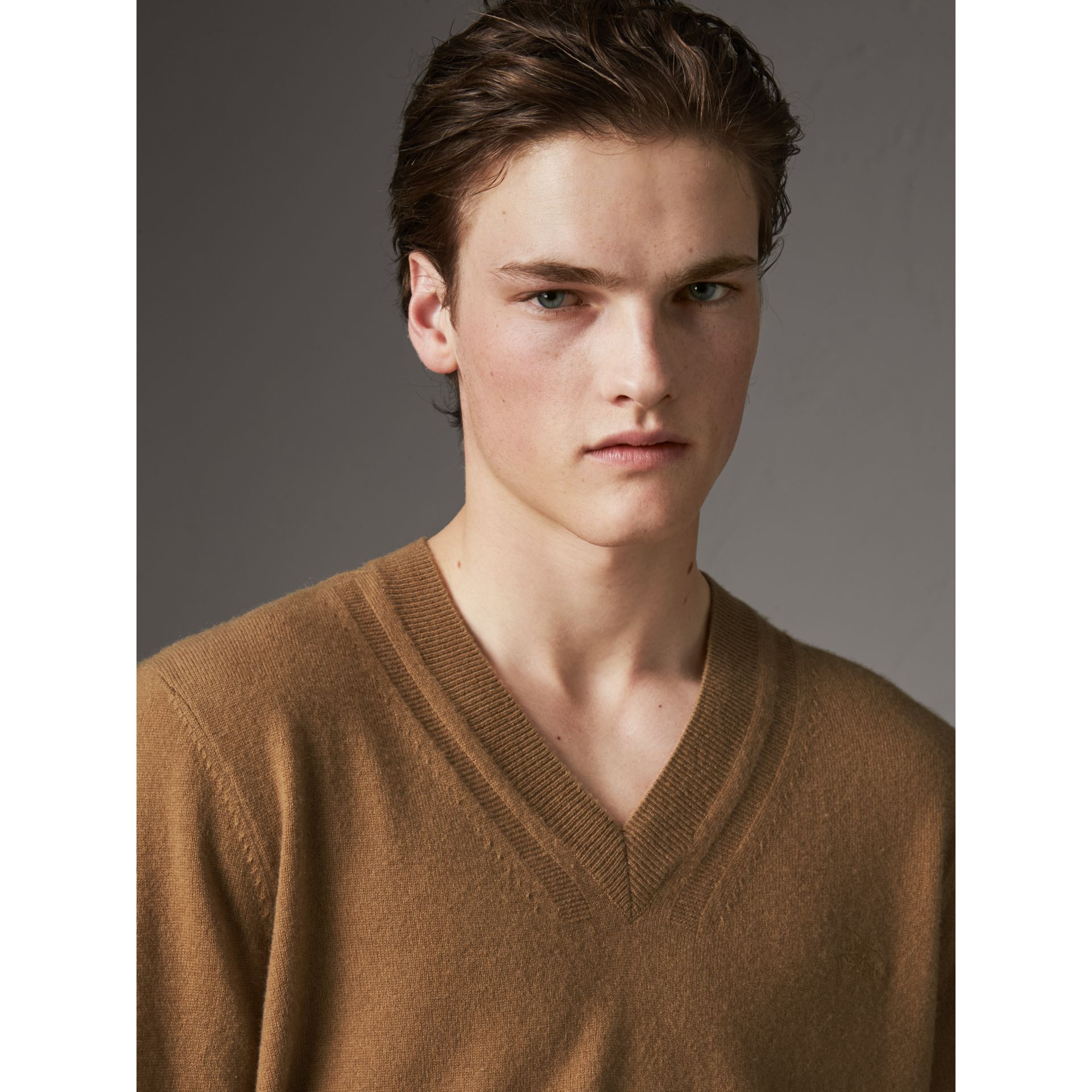 Cashmere V-neck Sweater in Camel - Men | Burberry - gallery image 1