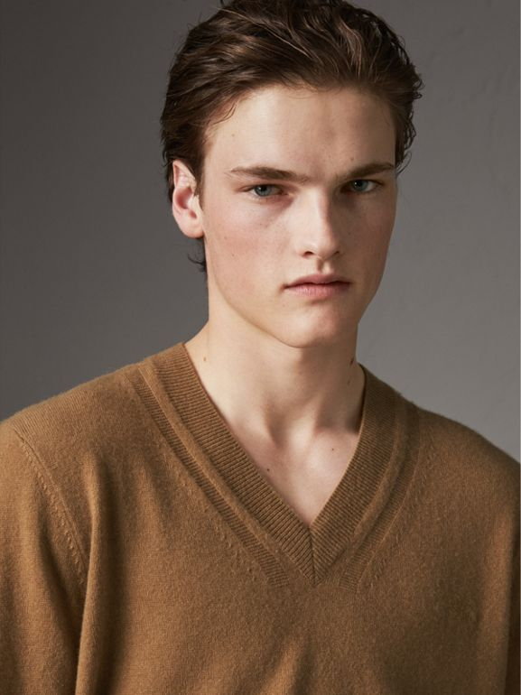 Cashmere V-neck Sweater in Camel - Men | Burberry - cell image 1
