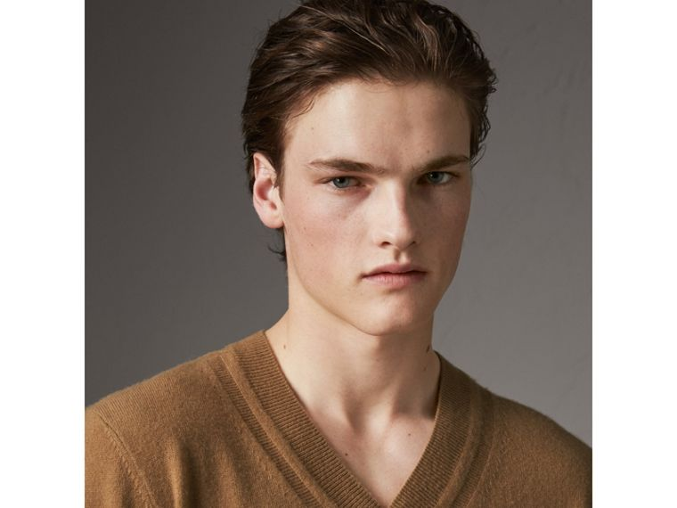 Cashmere V-neck Sweater in Camel - Men | Burberry Hong Kong - cell image 1