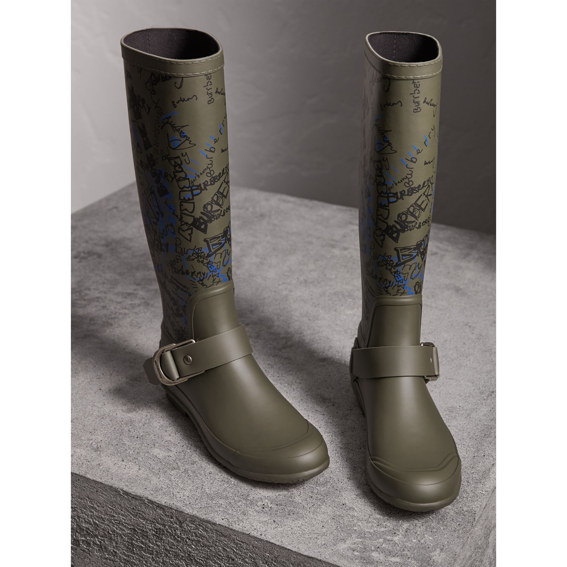 Doodle Print Rubber Rain Boots in Military Green - Women | Burberry Singapore - gallery image 4