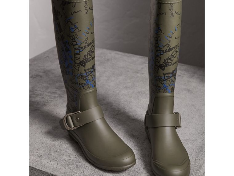 Doodle Print Rubber Rain Boots in Military Green - Women | Burberry - cell image 4