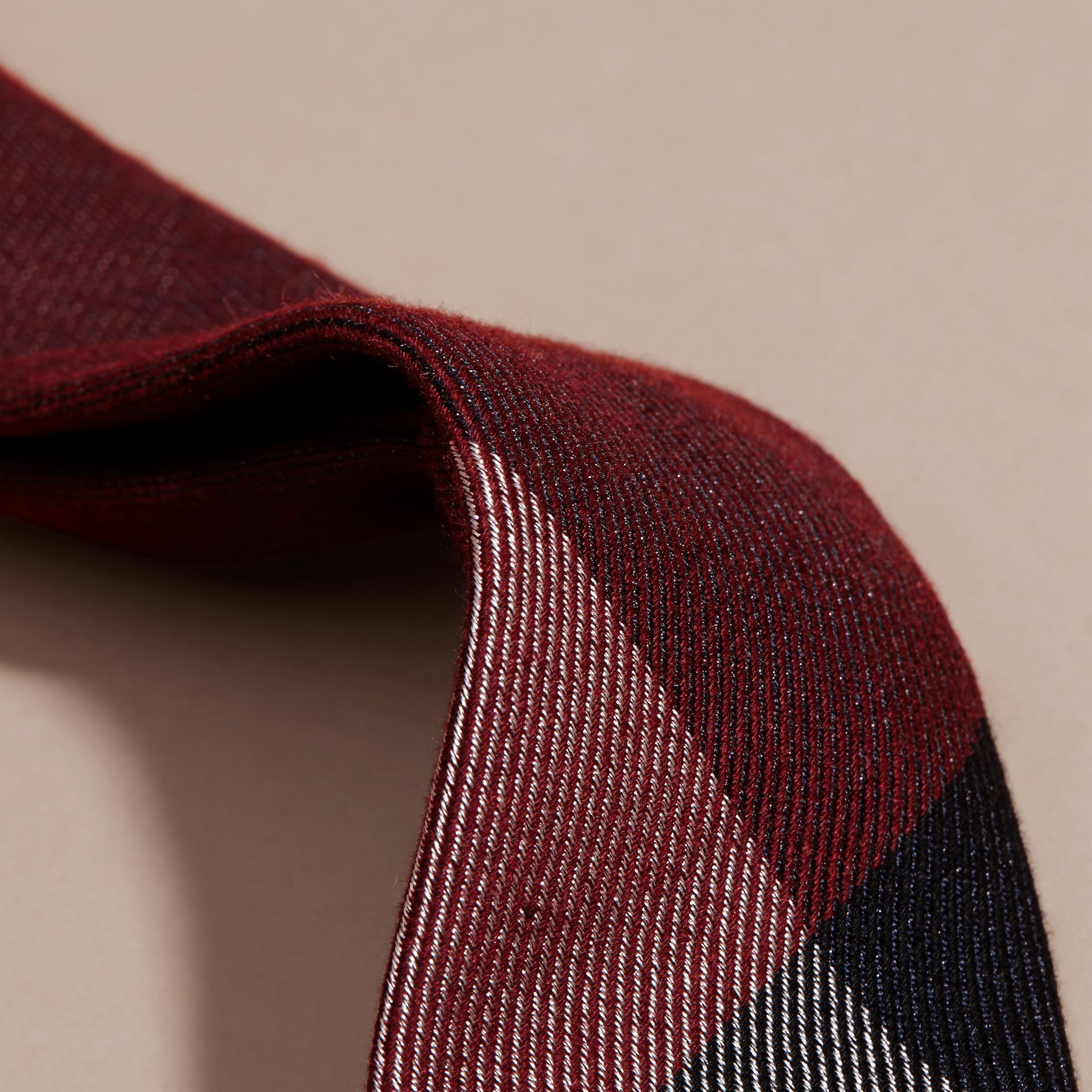 Modern Cut Check Cashmere Silk Tie Dark Elderberry - gallery image 2