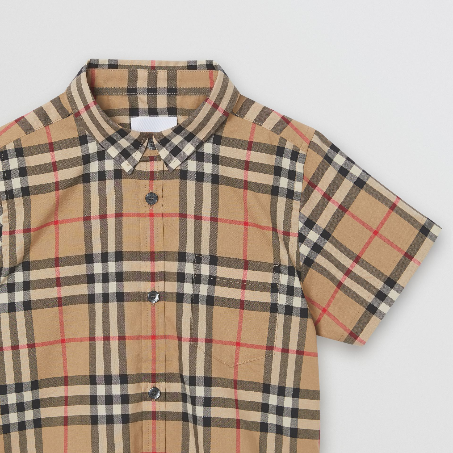 Short-sleeve Vintage Check Cotton Shirt in Archive Beige - Boy | Burberry - gallery image 4