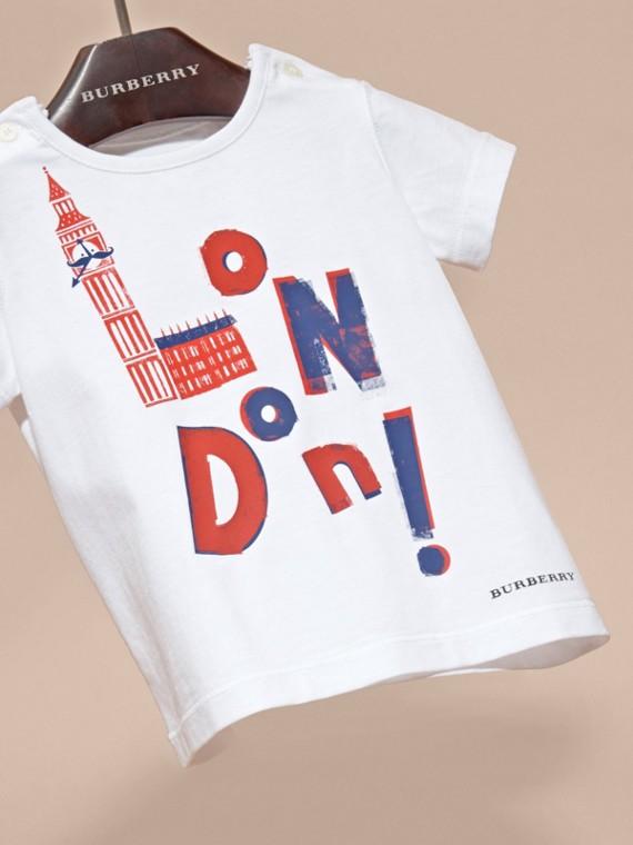 Rosso parata T-shirt in cotone con motivo London - cell image 2