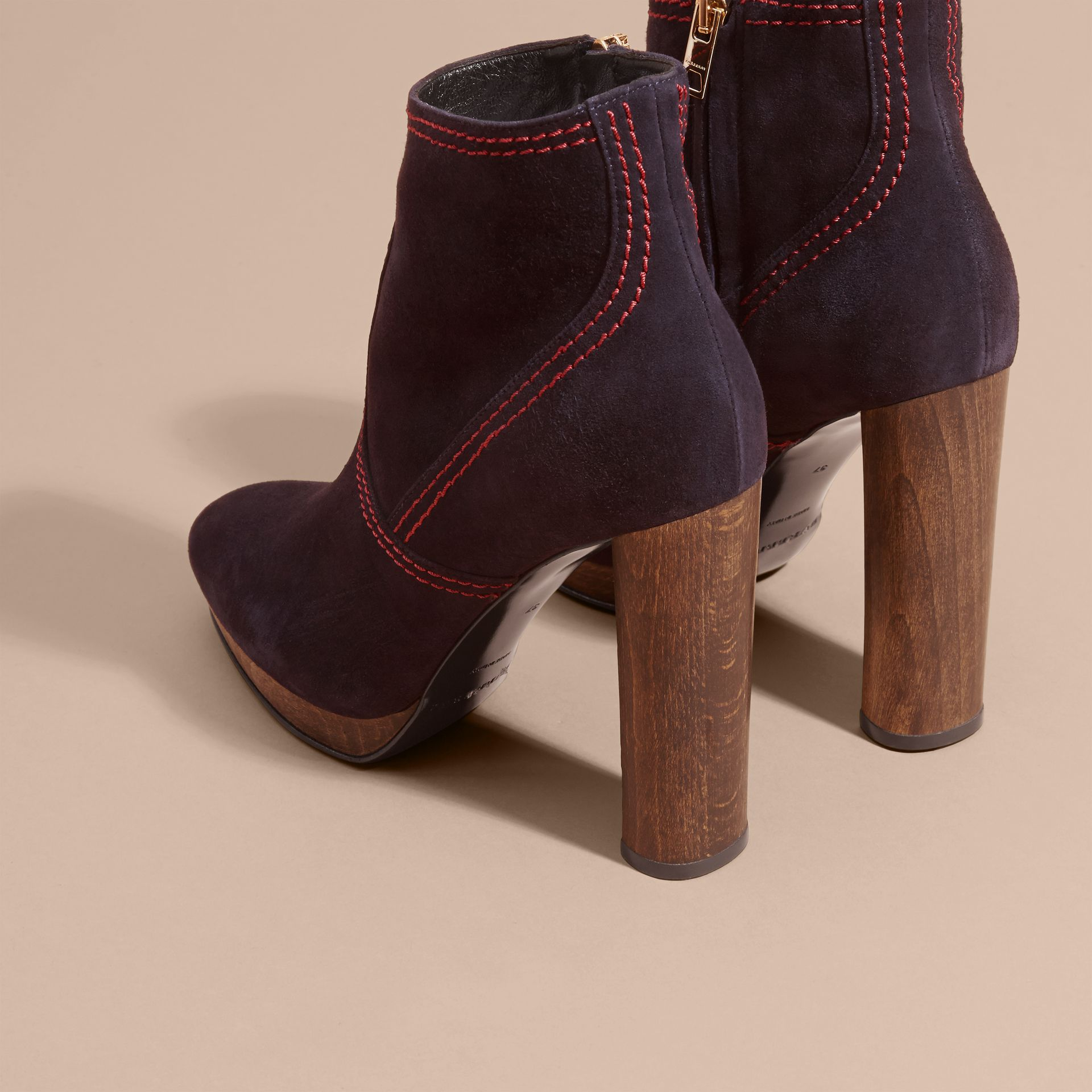 Suede Ankle Boots in Navy | Burberry United States - gallery image 3