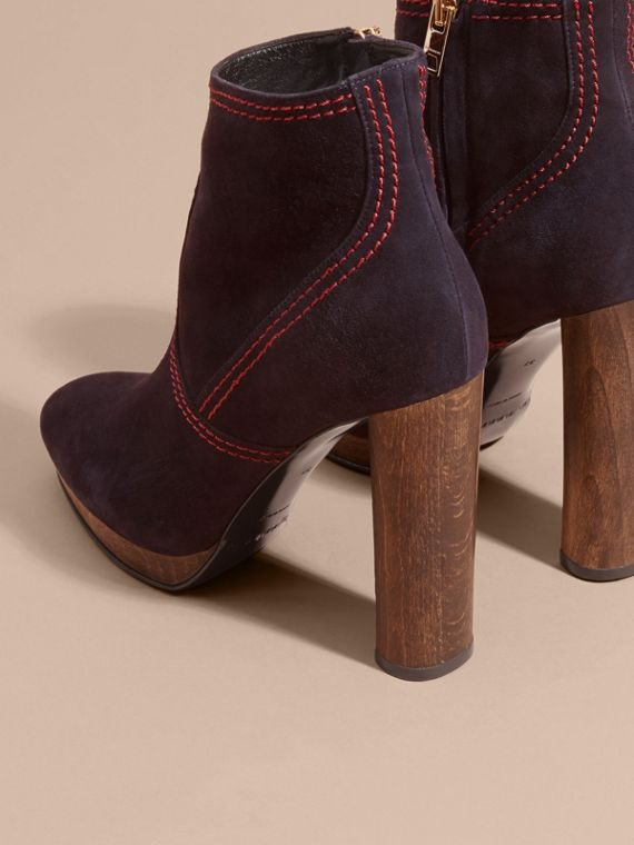 Navy Suede Ankle Boots Navy - cell image 3