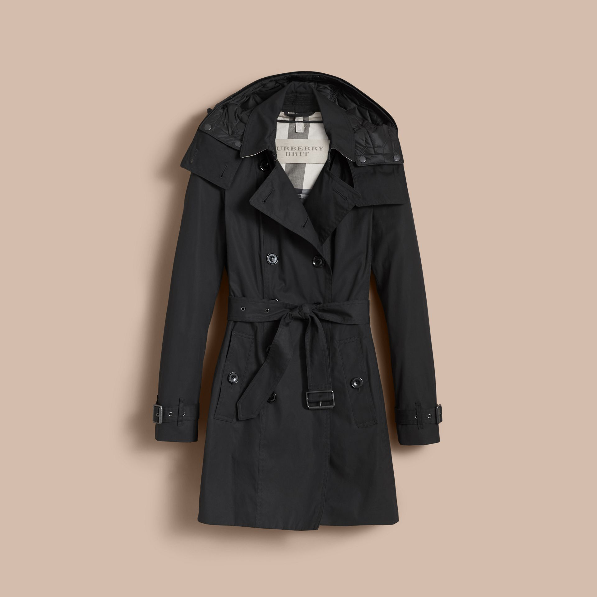 Hooded Trench Coat with Warmer Black - gallery image 4