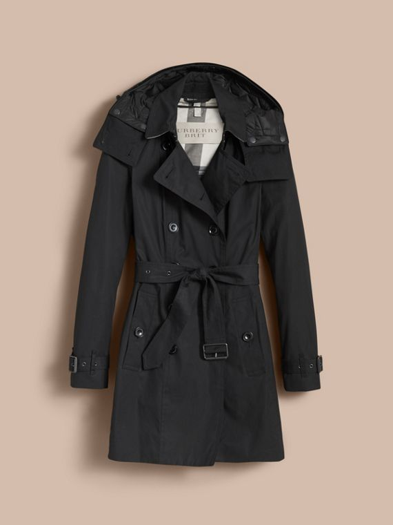 Hooded Trench Coat with Warmer in Black - cell image 3