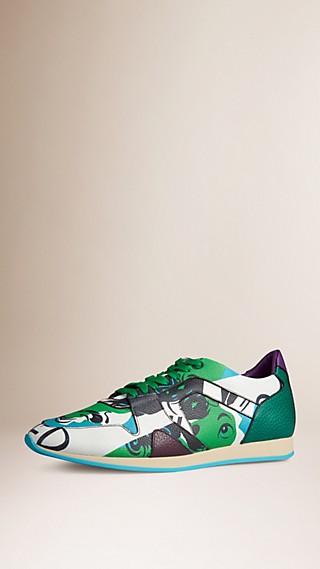 The Field Sneaker in Book Cover Print Leather Bright Cedar Green