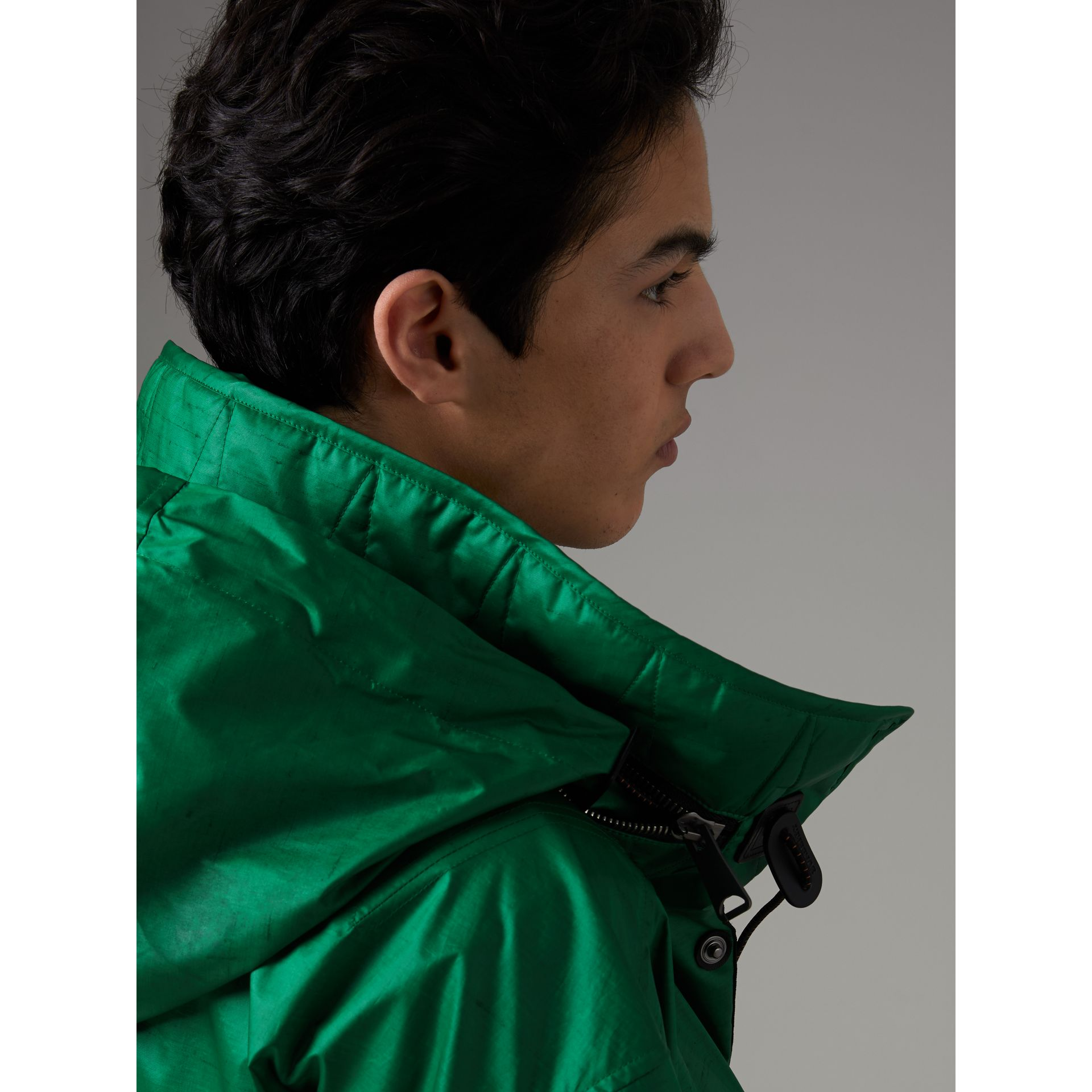 Packaway Hood Showerproof Jacket With Gilet in Vibrant Green - Men | Burberry - gallery image 6