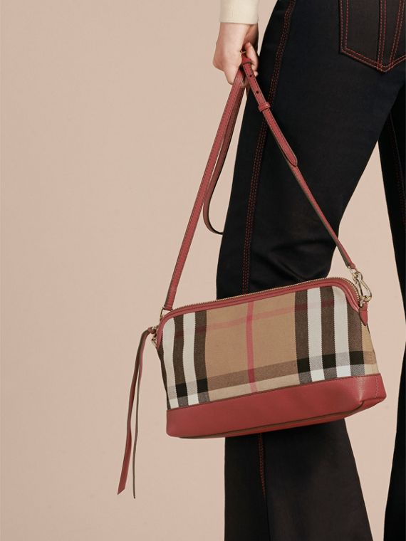 Clutch en coton House check et cuir (Rouge Feuille Morte) - Femme | Burberry - cell image 3