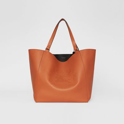 Large Embossed Crest Bonded Leather Tote in Brown