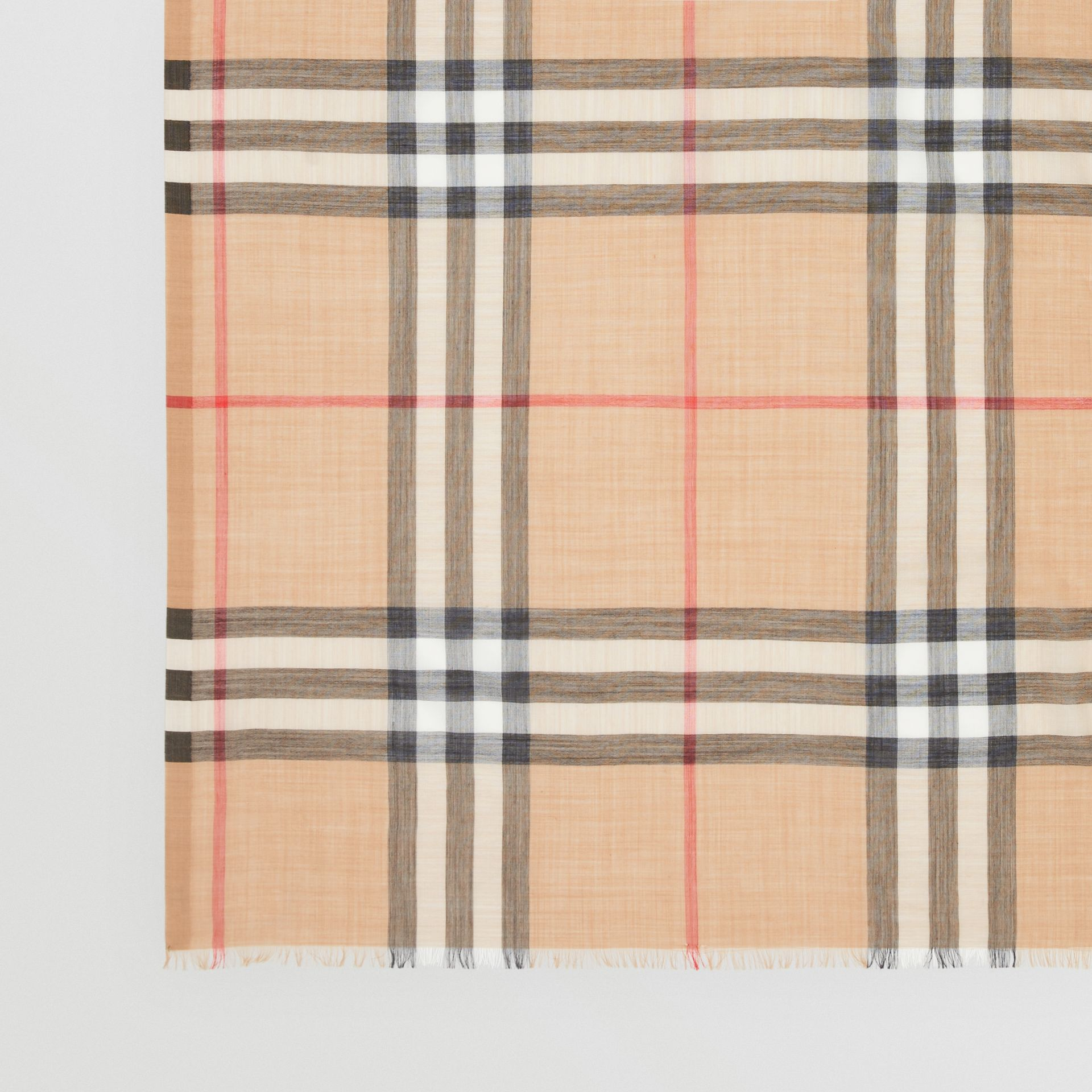Lightweight Check Wool and Silk Scarf in Camel | Burberry United States - gallery image 1