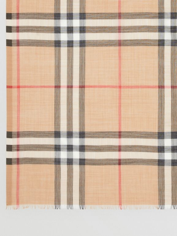Lightweight Check Wool and Silk Scarf in Camel | Burberry United States - cell image 1