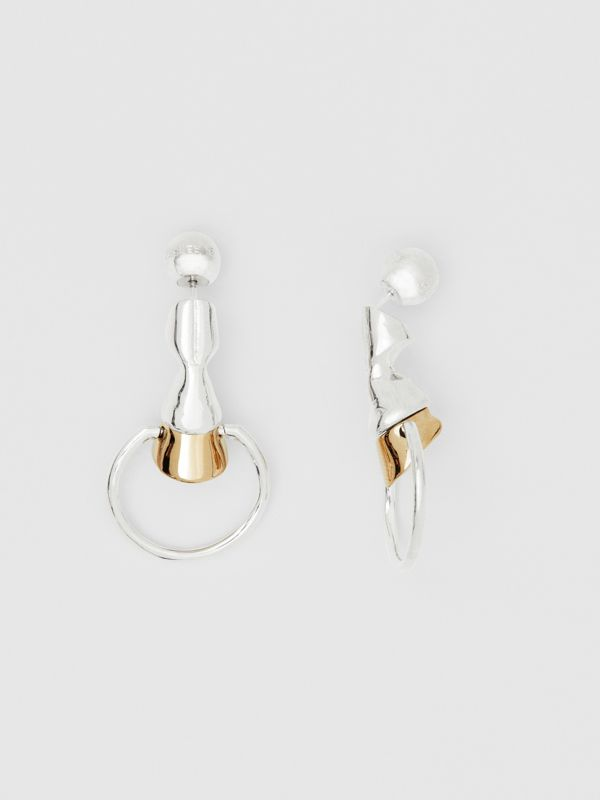 Palladium and Gold-plated Hoof Hoop Earrings in Palladium/light - Women | Burberry United Kingdom - cell image 3
