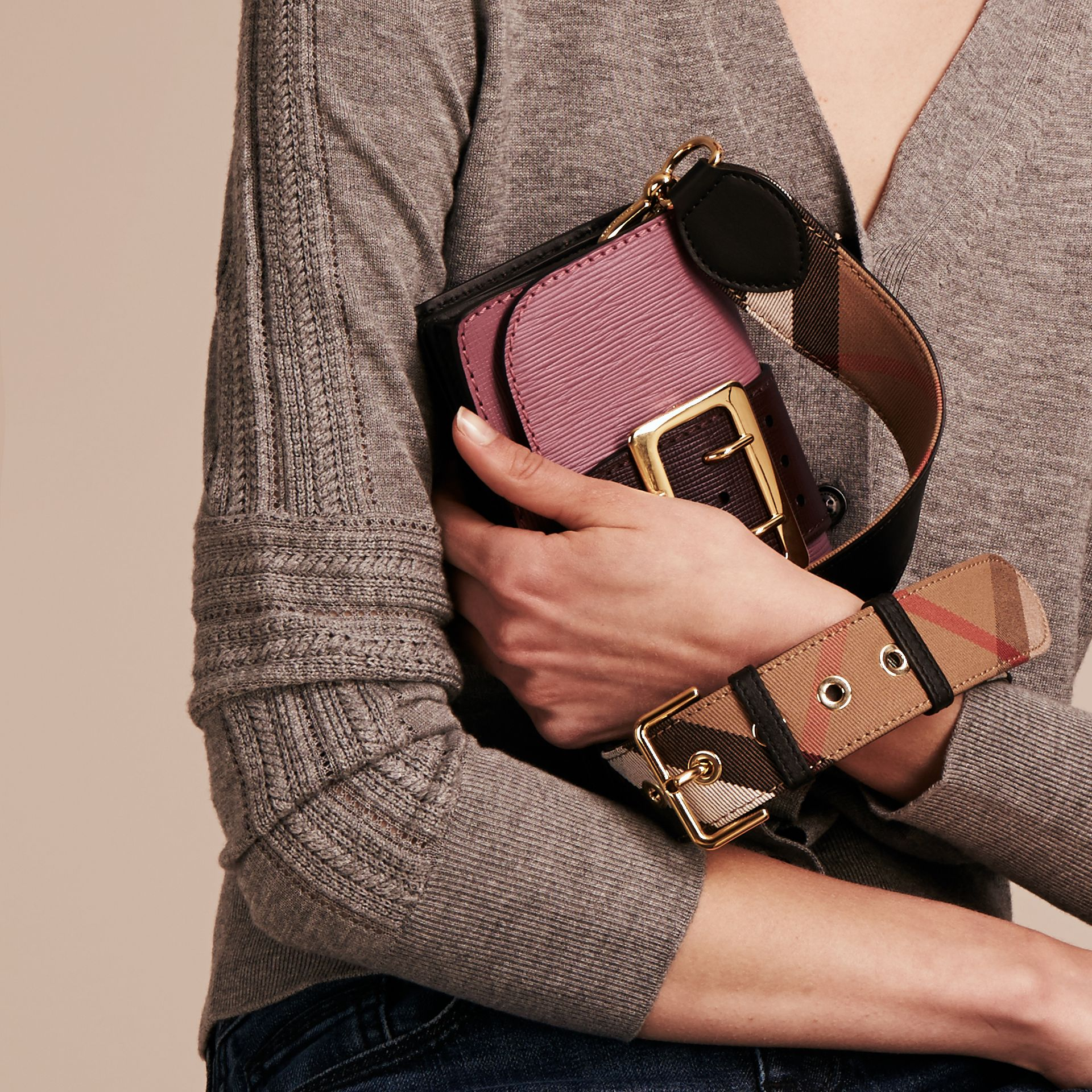 The Small Buckle Bag in Textured Leather Dusky Pink/ Burgundy - gallery image 4