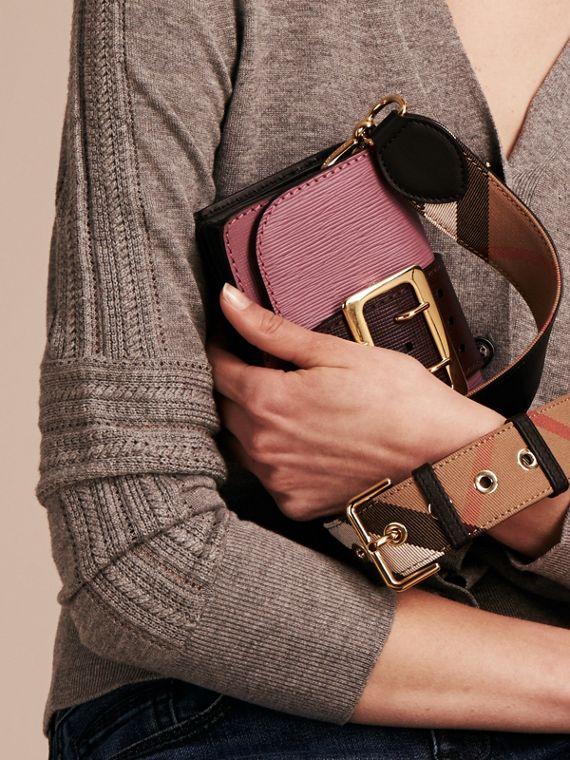 The Small Buckle Bag in Textured Leather Dusky Pink/ Burgundy - cell image 3