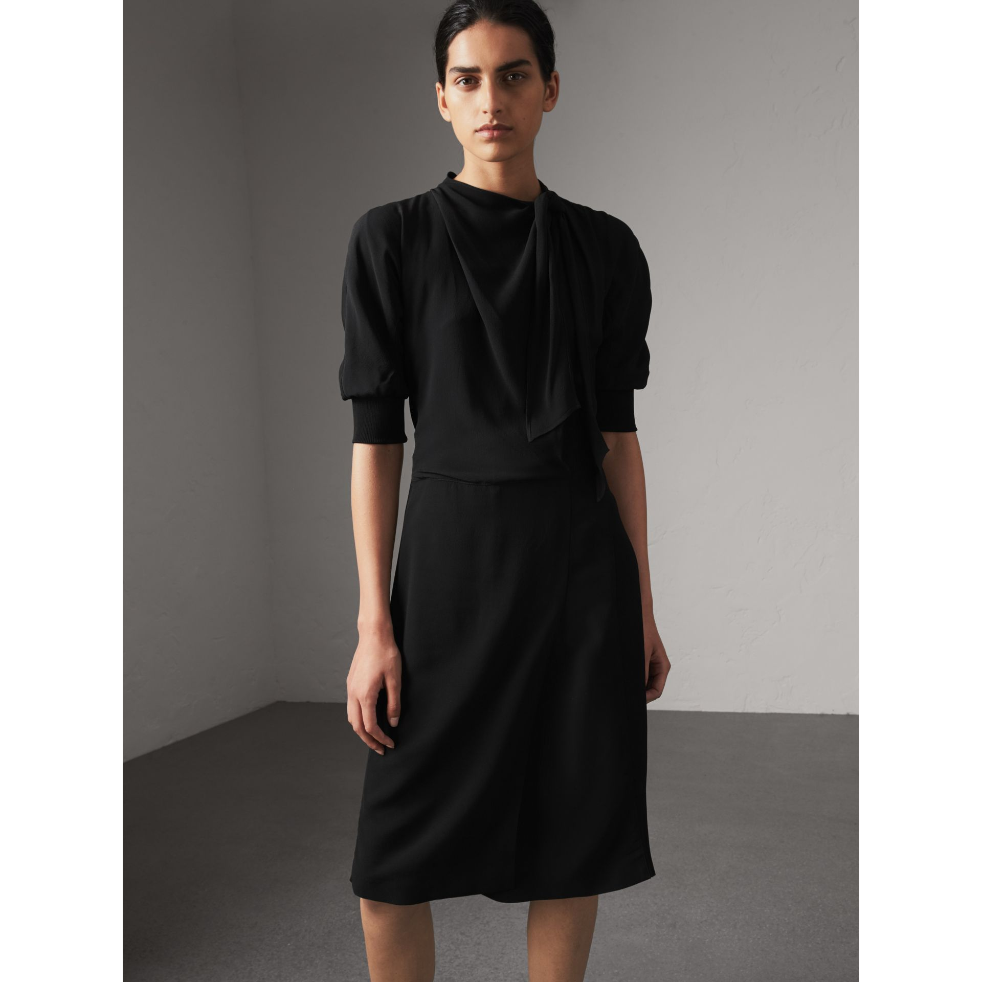 Pussy-bow Crepe Dress in Black - Women | Burberry Australia - gallery image 1