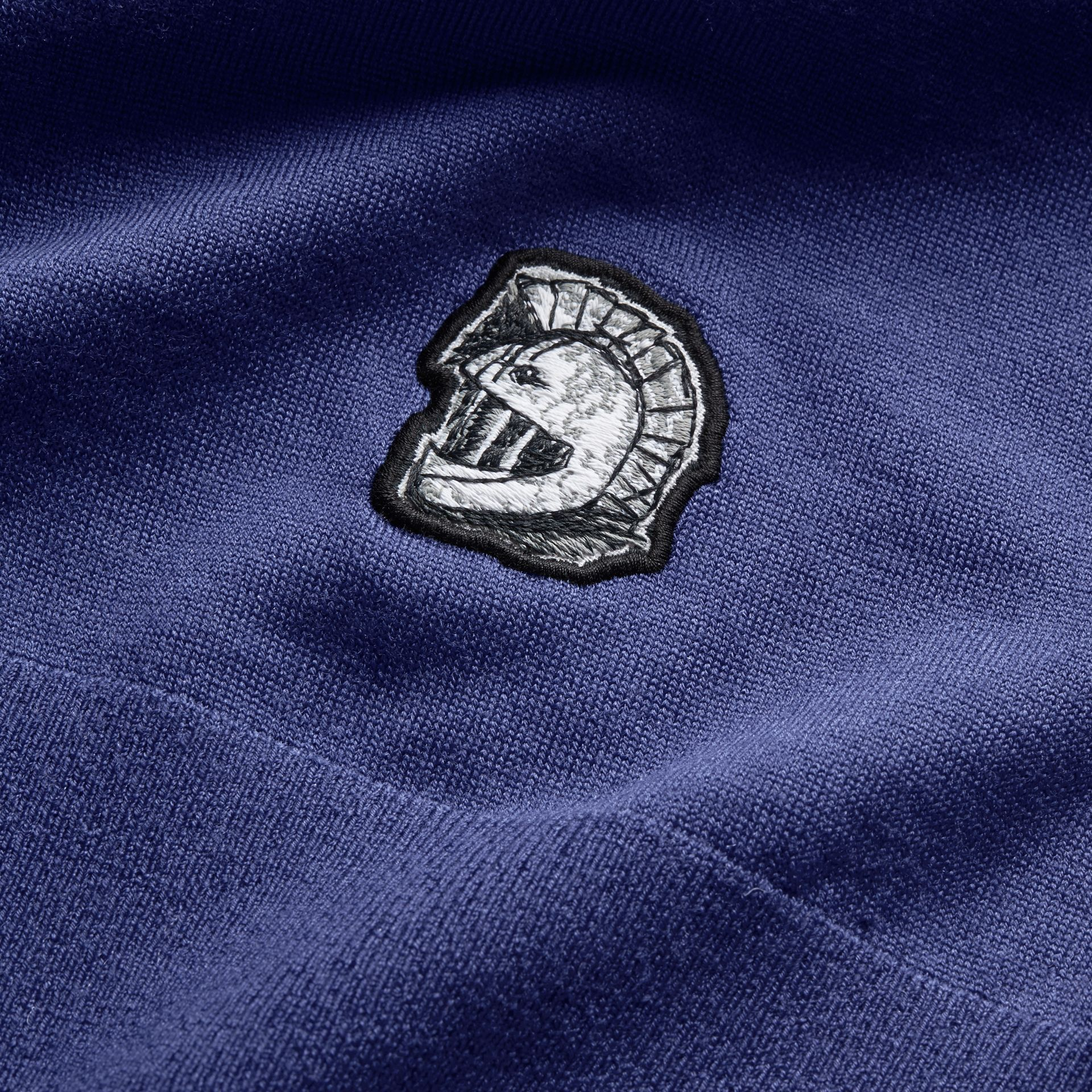 Pallas Helmet Motif Merino Wool V-neck Sweater in Indigo Blue - Men | Burberry - gallery image 1