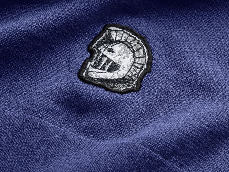 Pallas Helmet Motif Merino Wool V-neck Sweater in Indigo Blue - Men | Burberry Singapore - cell image 1