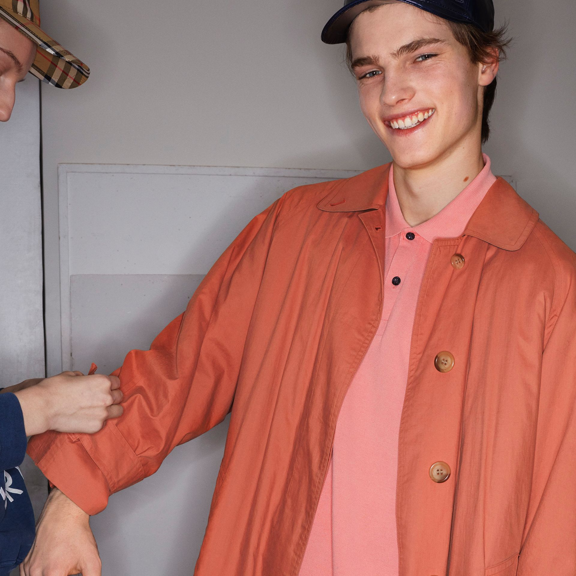 Reissued Cotton Car Coat with Detachable Warmer in Coral - Men | Burberry Australia - gallery image 4