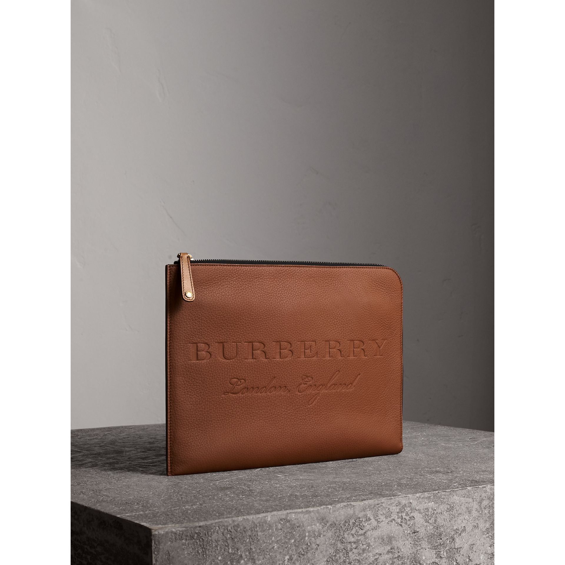 Embossed Leather Document Case in Chestnut Brown - Men | Burberry - gallery image 6