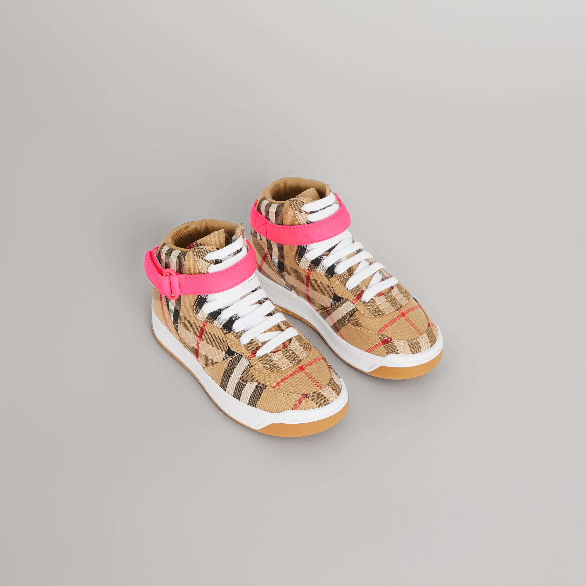 Vintage Check High-top Sneakers in Antique Yellow/neon Pink | Burberry Canada - gallery image 0